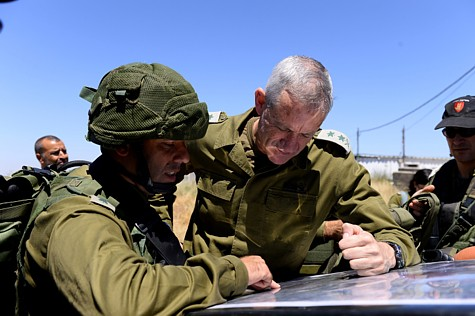 IDF Chief of Staff Benny Gantz reviewing maps