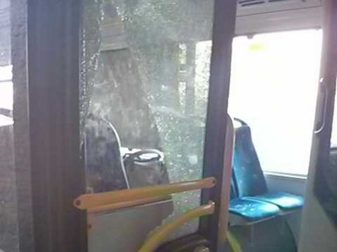 Bus window shattered