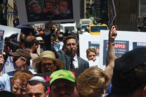 Demonstrators show solidarity with the kidnapped Israeli teens outside the Israeli Consulate in Manhattan on Monday.