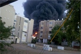 A rocket from Gaza hit a Sderot factory burning it down to the ground.