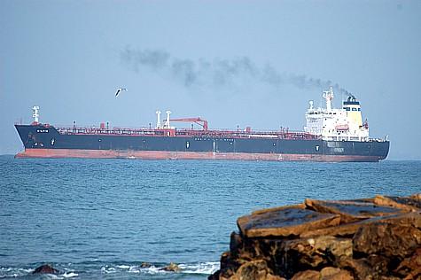 An oil tanker off Haifa's coast.
