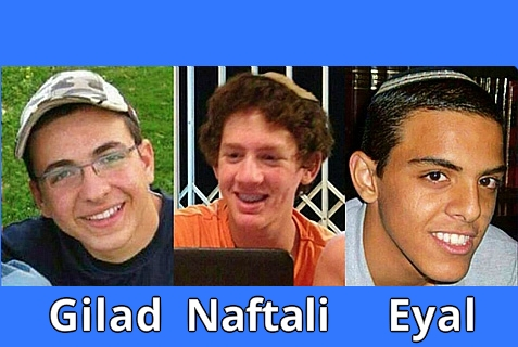 Gilad Shaar (L), Naftali Frenkel (C) and Eyal Yifrach (R) are the three Israeli teenagers whom Arab terrorists kidnapped on June 12, 2014.
