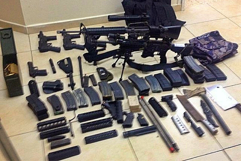 A small fraction of the weapons recovered during the IDF search for the kidnapped boys on June 16, 2014.