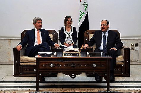 U.S. Secretary of State John Kerry meets with Iraqi Prime Minister Nouri al-Maliki in Baghdad on June 22.