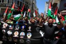 Arabs in Ramallah demonstrate in solidarity with incarcerated Palestinian Authority murderers.