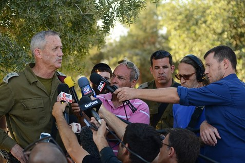 IDF Chief of Staff, Benny Gantz talking to the media.