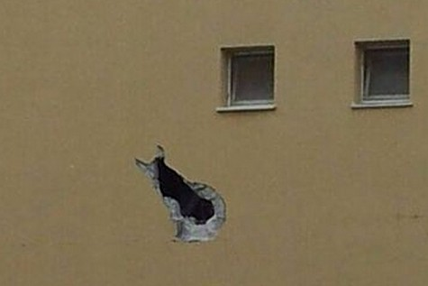 Close up of a house hit by a rocket. Photo by: News 0404.co.il / Boaz Tzabari, Ariel Levi, Yaron Rappaford