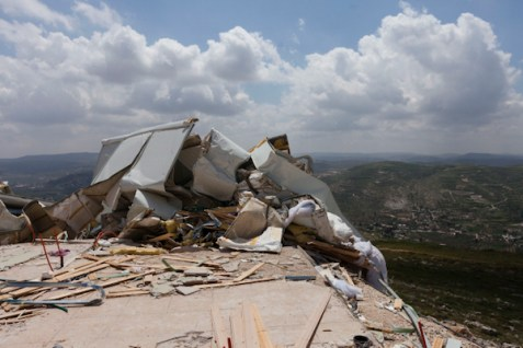 Remains of a new neighborhood of Yizhar, destroyed by IDF forces on April 10, 2014