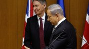 Prime Minister Netanyahu and British Foreign Secretary Philip Hammond, July 24, 2014.