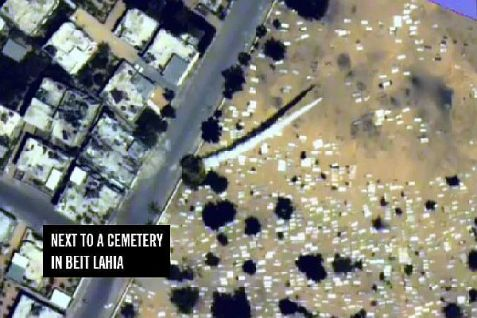 Some of the missile fire comes from launchers planted in cemeteries, mosques, schools and hospitals. This is an aerial photo of one such launch in Beit Lahiya earlier this week.