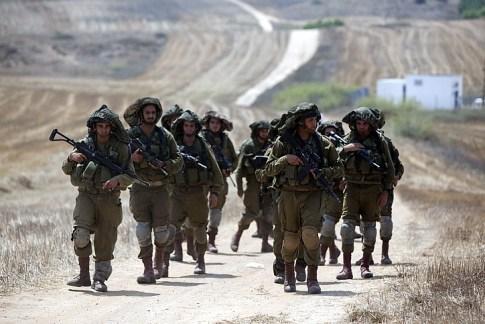 An IDF patrol along the Gaza border.