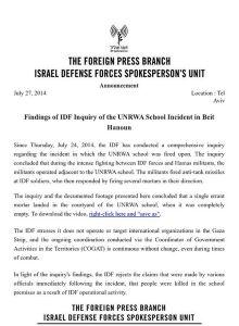 IDF UNRWA RELEASE
