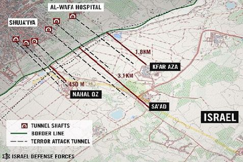IDF map of terrorist tunnels that were found near Israeli communities near the Gaza border, identified and mapped. July 27, 2014. These were destroyed by the IDF. Residents fear there are more that have yet to be uncovered.