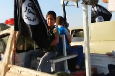 Young children 'recruited' by the Al Qaeda-inspired Islamic State of Iraq and al-Shams (ISIS) terrorist group for a Shari'a jihadist army in Iraq and Syria.