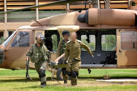 IDF soldier injured in Gaza is evacuated by helicopter to Soroka hospital.