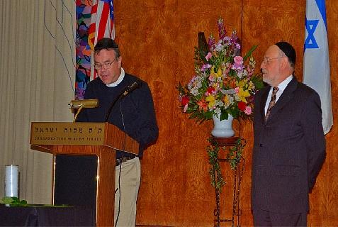 Rabbi Albert Gabbai of Mikveh Israel and Rector Timmothy Stafford of Christ Church in Philadelphia both spoke at Philadelphia's memorial service for the slain Israeli teenagers on July 1, 2014.