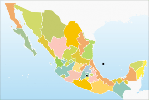Map of Mexico with the United States to the north.