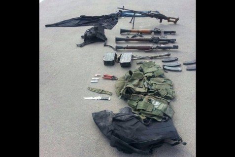 Some of the weapons captured in the terror tunnel attack in the Be'eri region.