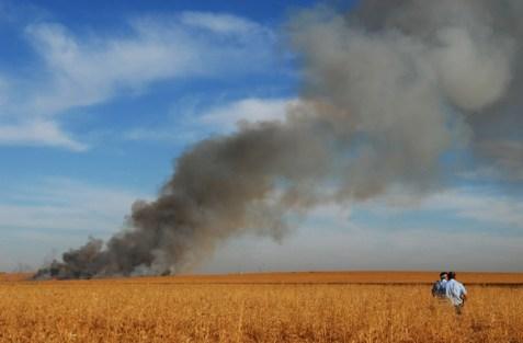 Rocket explosion in a field near a kibbutz. (file)