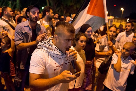 Israeli Arabs take part in an anti-Zionist protest in Jaffa (Yafo), next to Tel Aviv, against the IDF war on terror in Gaza.