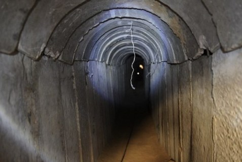 Terrorist tunnel leading from Gaza to Israel.