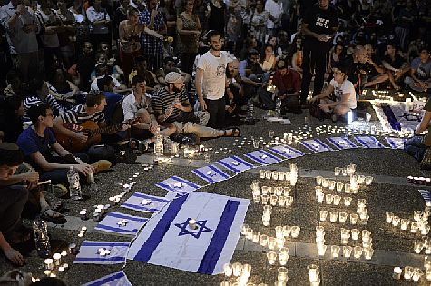 Vigil in Rabin Square, Tel Aviv -- thousands mourned in response to the news that the kidnapped boys had been murdered, and bodies had been found.