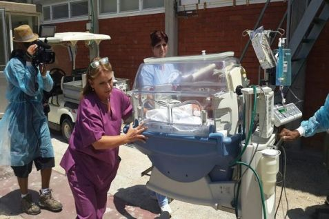 Newborns moved to more secure areas of the Ashkelon hospital following renewal of heavy rocket fire eight hours before cease-fire deadline was to expire on Aug.  20, 2014.
