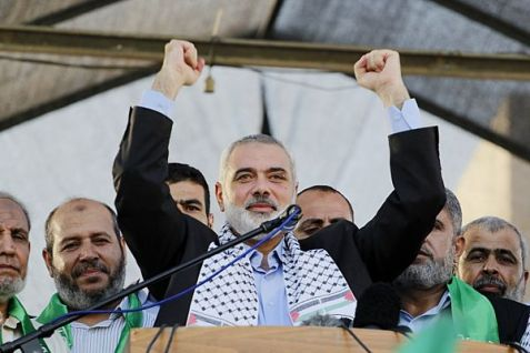 Gaza-based Hamas de facto Prime Minister Ismail Haniyeh would replace Fatah's Mahmoud Abbas as chairman of the Palestinian Authority if elections were held today.