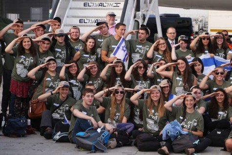 "New Olim on the ""Soldier's Flight"" right after landing in Israel."