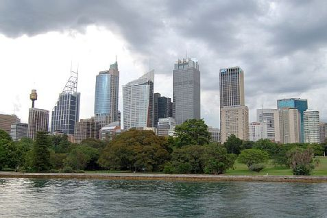 A view of skyscrapers in Sydney, Australia.