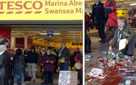 Anti-Israel demonstrators at a Tesco store in Britain.