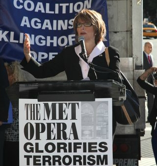 Laurie Cardoza-Moore, founder and president of Proclaiming Justice to the Nations, spoke at the anti-Klinghoffer rally in NYC on Sept. 22, 2014.