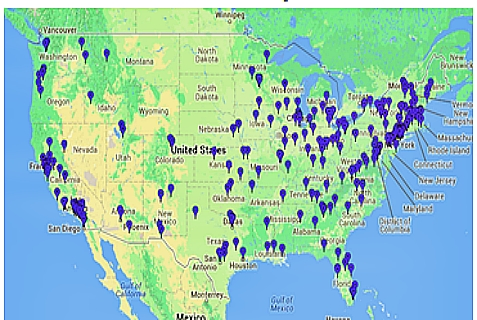 The AMCHA Initiative's map of US college professors who signed anti-Israel Boycott petition dated Aug. 6, 2014.