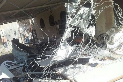 Synagogue in Ashdod destroyed by Hamas rocket fire launched from Gaza.