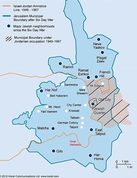 Plan de la municipalité de Jérusalem.  Notez l'emplacement de Givat Hamatos, et sa proximité de Gilo.