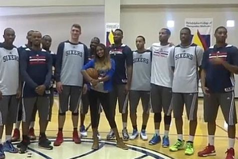 Miss Israel during at surprise visit to a 76ers training exercise last February.
