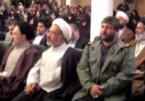 At right, IRGC General Mohammad Ali Allahdadi, one of two IRGC general officers and six Iranians conducting reconnaissance in the Golan Heights on 18 Jan 2015, when their convoy was struck by (presumably) the IDF. Allahdadi is seen here hanging with former President Khatami in 2009. (Image: Iranian TV via Twitter)