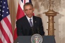 U.S. President Barack Obama at White House press briefing.