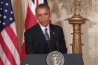 U.S. President Barack Obama at White House Press Briefing.
