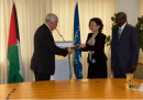 ICC Second Vice-President Judge Kuniko Ozaki, in the presence of the President of the Assembly of States Parties, H.E. Sidiki Kaba, presents Palestinian Authority Foreign Minister Riad Al-Malki with a special edition of the Rome Statute .