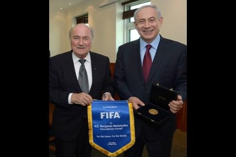 FIFA president Sepp (Joseph) Blatter and PM Benjamin Netanayhu