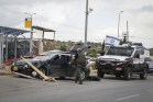 Israeli security inspect the vehicle of a Palestinian attacker who drove over Israelis near Alon Shvut, Gush Etzion, on May 14, 2015.