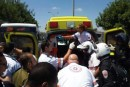 IDF soldier being evacuated by ambulance.