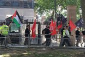 "Neo-Nazis in London carried a Palestinian Authority flag when protesting the ""Jewification"" of the UK."