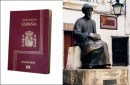 Spanish passport now available to SOME Sephardic Jews. At right, a sculpture of the medieval Spanish Jewish rabbi, physician and philosopher Rambam in his birthplace of Cordoba, Spain.