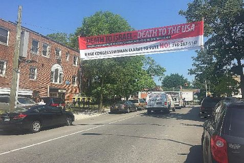 Anti-IranDeal banner in Crown Heights, Brooklyn reads 'Death to Israel, Death to the USA.'