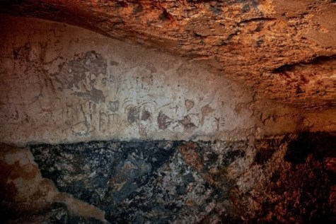 Painting and inscriptions found on the wall of a 2000-year-old mikveh in Jerusalem.
