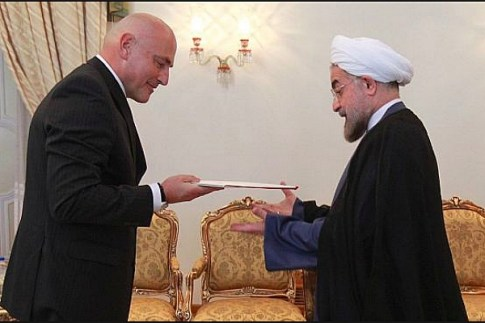 Swiss Amb. to Iran Giulo Haas presents his credentials to Iranian Pres. Rouhani