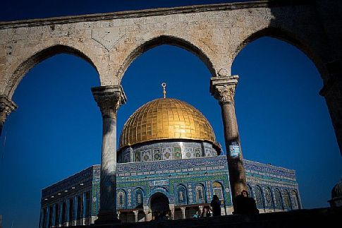 Tourists seen walking at the Dome of the Rock at the Temple Mount in Jerusalem.