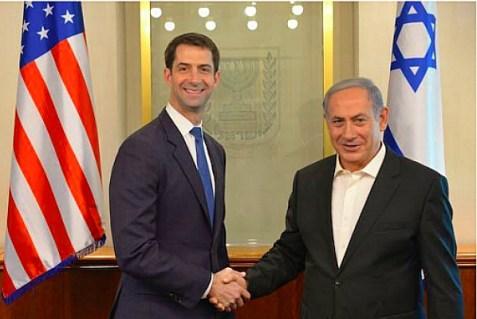 Sen. Tom Cotton (R-AK) and Israeli Prime Minister Benjamin Netanyahu, in Israel. Aug. 31, 2015.